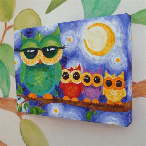 painting for 10 year olds nursery colorful owl family 7x5 acrylic on canvas by