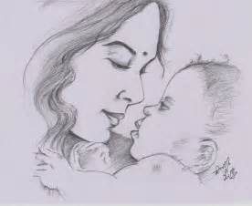 sketches and drawings mother and baby pencil sketch