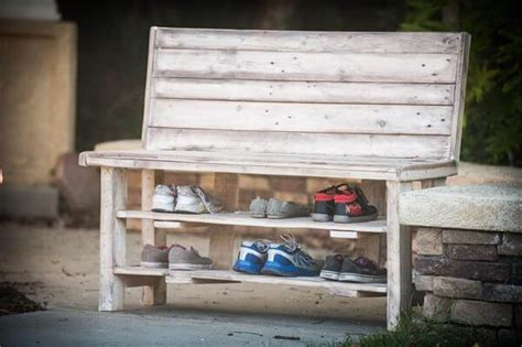 pallet bench with storage and shoe rack coat rack bench salavged pallet shoes storage rack 101 pallets