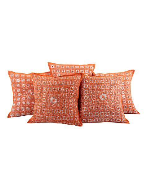 buy orange embroidered silk pillow covers