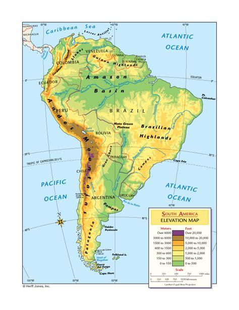 america map elevation south america elevation