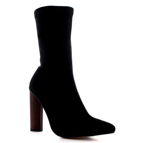 sock high heel boots wooden block heel sock fit high heel shoes pointed