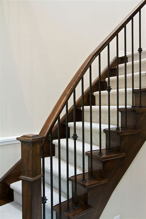 Rod Iron Spindles Staircase Contemporary With Banister