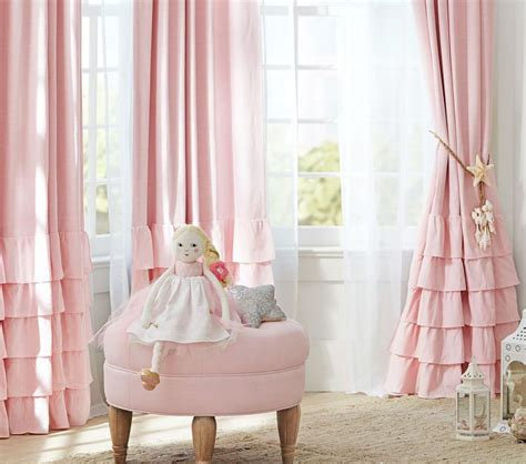 nursery blinds and curtains linen blend ruffle bottom blackout curtain