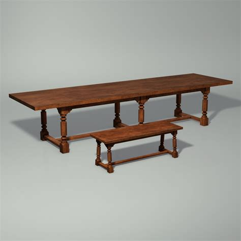 medieval bench medieval table bench 3d model