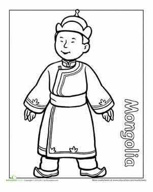 multicultural coloring pages preschool multicultural coloring mongolia worksheet education com