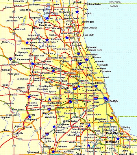 chicago highway names map chicago map and chicago satellite image