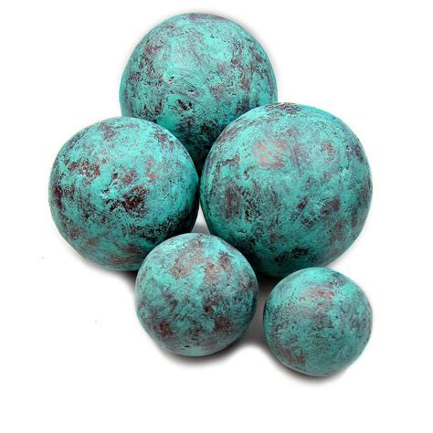 Handmade Balls - copper and turquoise blue handmade papier mache accent