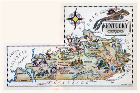 kentucky attractions map detailed illustrated tourist map of kentucky state