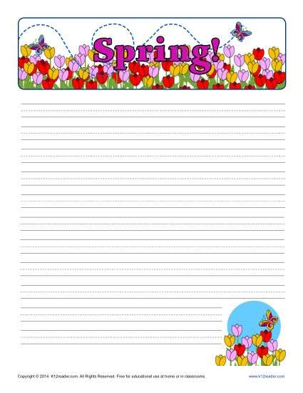 lined paper with spring border spring printable lined writing paper