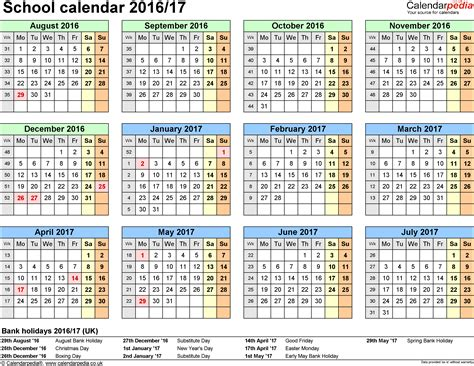 2016 Calendar Template Pdf Uk School Calendars 2016 2017 As Free Printable Pdf Templates