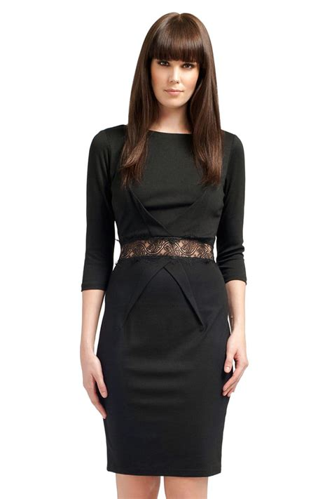 3 4 Sleeve Lace Dress black lace waistband 3 4 sleeve dress