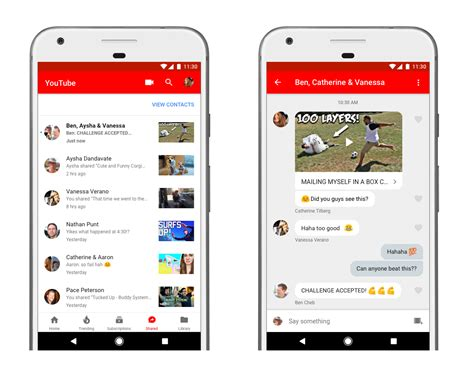 youtub mobil adds in app direct messaging and features