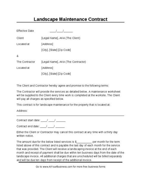 Landscape Contract Free Printable Documents Landscaping Contract Template Pdf