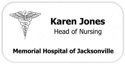 Medical Caduceus Symbol 3 Line Name Tag Name Tag Wizard Office Name Tag Template