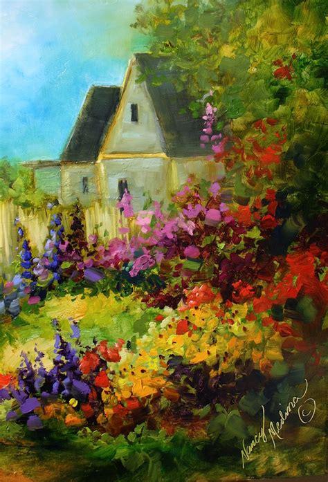 Cottage Garden Paintings by Nancy Medina Tranquility Cottage Garden By Flower Artist Nancy Medina