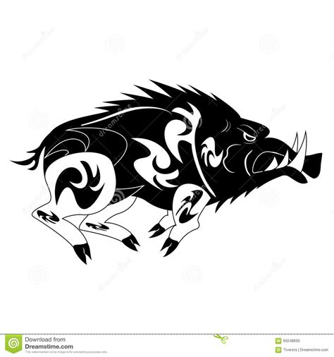 black and white monochrome wild boar stock vector image