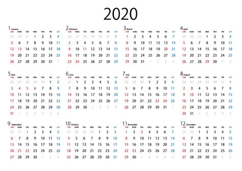 カレンダー 2020 無料 シンプル 年間