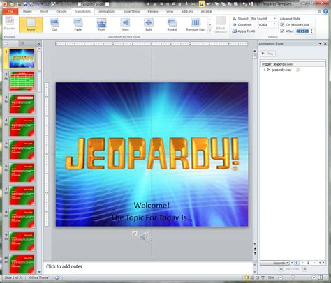 Making A Jeopardy Game Board In Powerpoint To Supplement Your Light And Buzzer System And Jeopardy Theme Song For Powerpoint