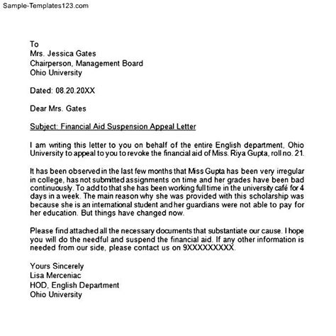 Appeal Letter For Residency Sle Appeal Letter Sle Sle Templates