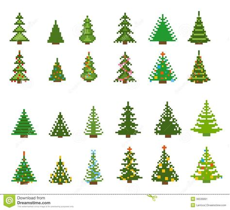 set of pixel art for christmas tree stock vector image