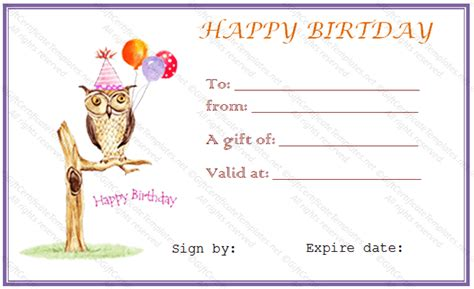 Owl Birthday Gift Certificate Template Gift Certificates Birthday Gift Card Template Printable