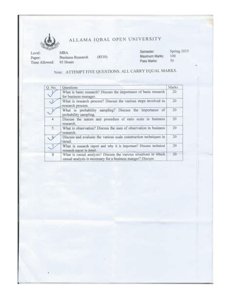 Business Research Methods Syllabus Mba by Aiou Paper Business Research Methods 8510 2015