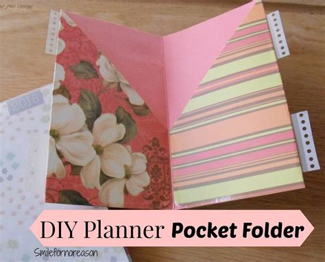 How To Make Paper Folders With Pockets - smile for no reason how to make your own planner pocket