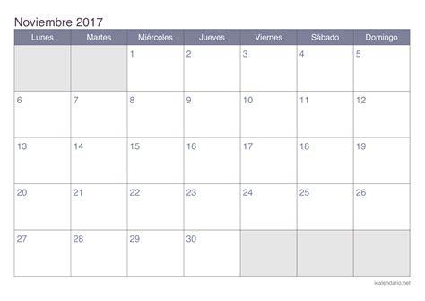 Calendario Lunar Aã O 2017 Calendario Noviembre 2017 Para Imprimir Icalendario Net