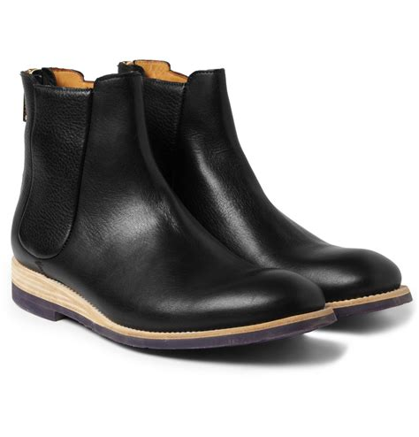 paul smith rubber soled leather chelsea boots in black for