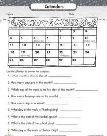 worksheets reading a calendar 2nd grade worksheets