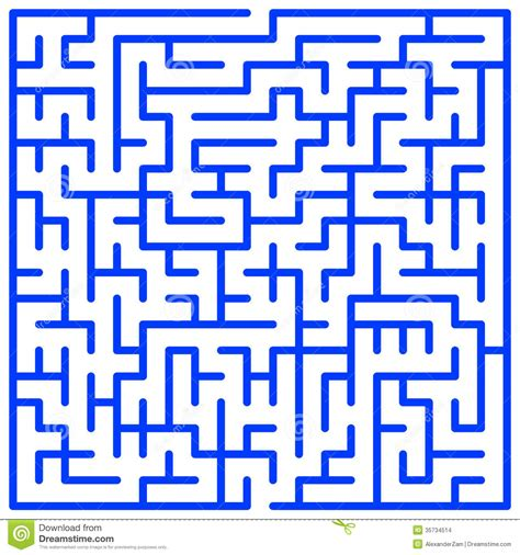 Maze In Blue maze stock vector image of admittance exit search