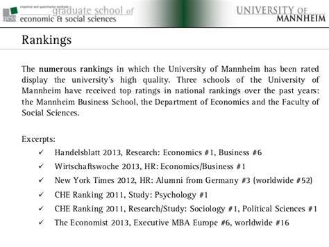 Mannheim Mba Review by Graduate School Of Economics And Social Sciences At The