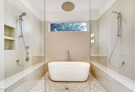 Bathroom Storage Ideas Small Spaces modern master bathroom with rain shower head by classic