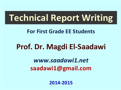 Technical Report Writing Exles Ppt presentation of chapter 01 technical writing