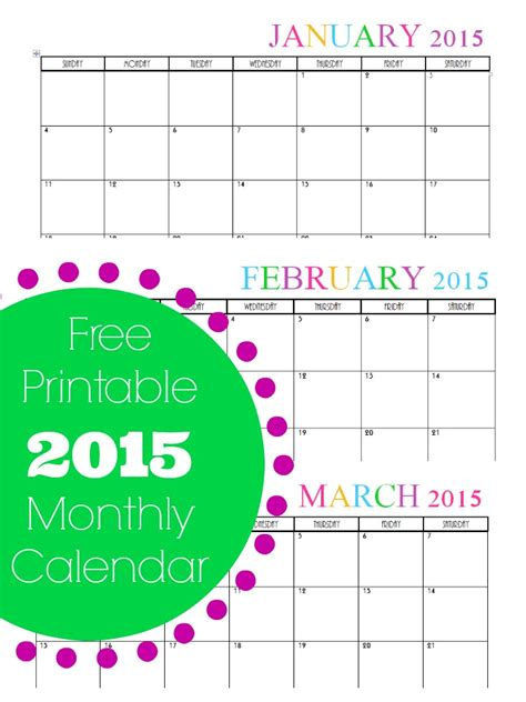 2015 monthly calendar template free printable monthly 2015 calendar
