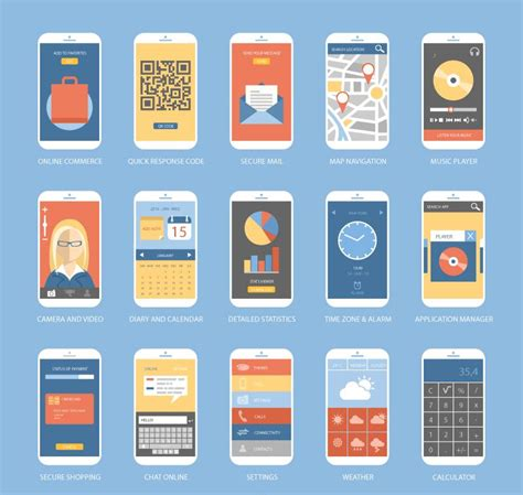 design mobile application free 15 phone program design vector ai
