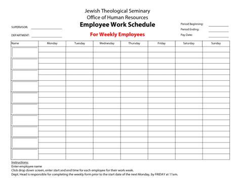 Blank Work Schedule Template Free