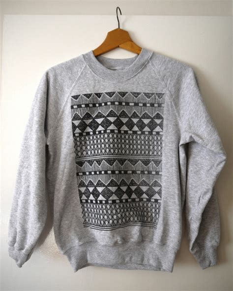 pattern sweaters tumblr sweater hipster crewneck oversized sweater aztec