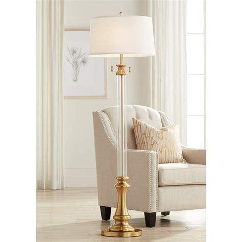Rolland Warm Antique Brass Clear Crystal Column Floor Lamp