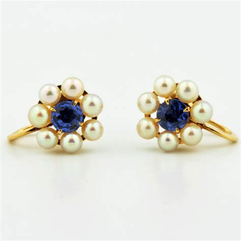 vintage pearl sapphire earrings porcello jewelers