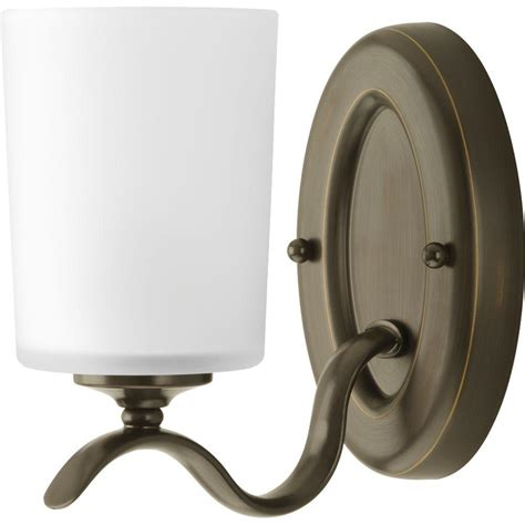 Bathroom Lighting Fixtures Home Depot Progress Lighting Inspire Collection 1 Light Antique Bronze Vanity Fixture P2018 20 The Home Depot