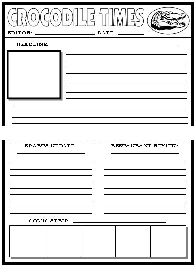 news article template free newspaper template for elementary students