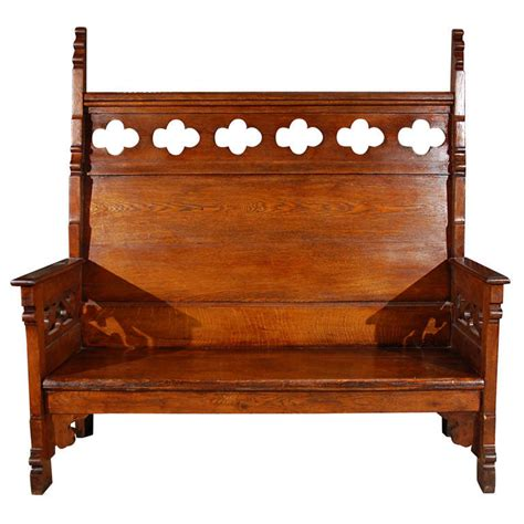 oak settee gothic style carved oak settee at 1stdibs