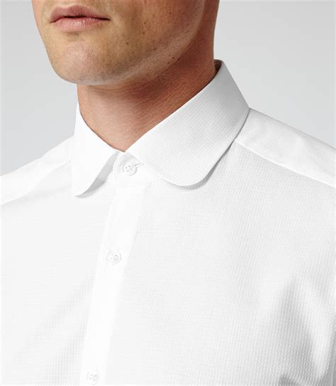Collar Shirt rhyme white textured curved collar shirt reiss