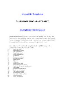 Resume Format Doc For Marriage Biodata Format For Marriage In Word Format