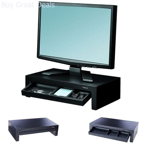Computer Monitor Stand For Desk Computer Monitor Stand Laptop Riser Led Tv Stand Desk Storage Tray Organizer Ebay
