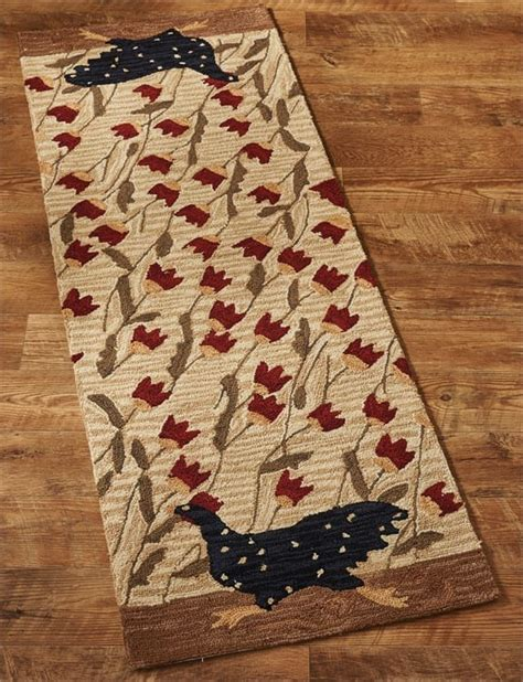 Rooster Runner Rug Chicken Run Rooster Hooked Rug Runner 24 Quot X 72 Quot