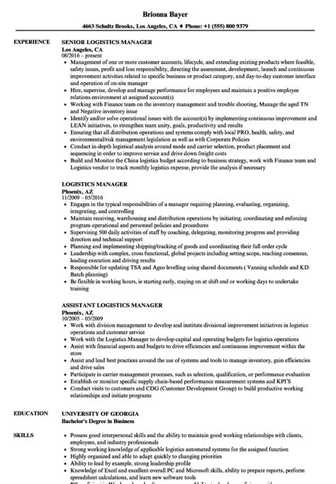 Logistics Manager Resume by Logistics Manager Resume Sles Velvet