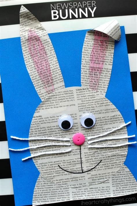simple  easy newspaper bunny craft bunny crafts easy